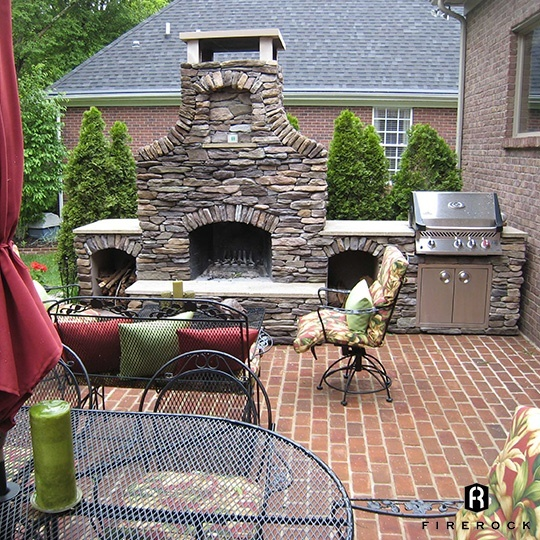 36 Inch Arched Fireplace With Woodboxes And Grill Cabinet