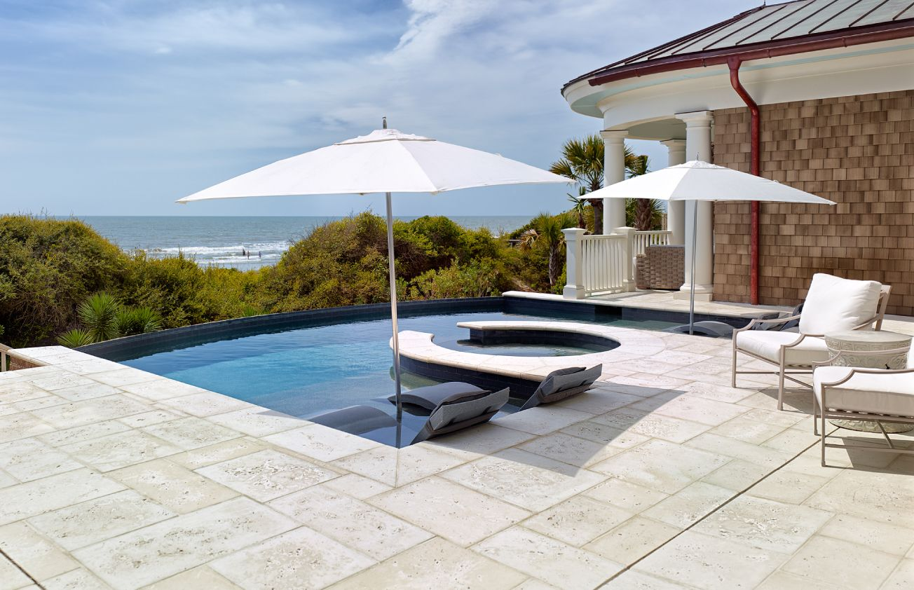 FireRock clay pavers custom cut for pool surround
