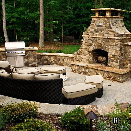 Large Stone Fireplace with Grill Cabinet